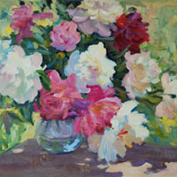 Still Life with Peonies en Plein Air