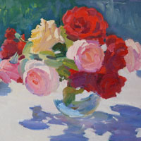 Still Life with Roses en Plein Air