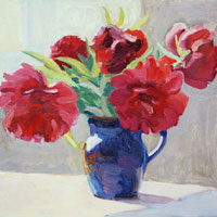 Red Peonies in Blue Vase
