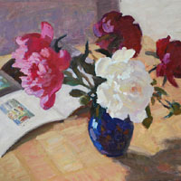 Still Life with Peonies and Magazine