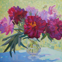 Still Life with Red Peonies